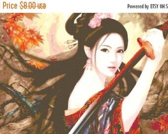 Geisha samurai Cross Stitch Pattern samurai pattern punto de cruz kreuzstitch- 496 x 279 stitches - INSTANT Download - B137