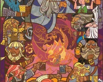 Lord of the Rings Cross Stitch Pattern Pdf cross stitch stained glass - 276 x 386 stitches - punto de cruz  needlework B1091