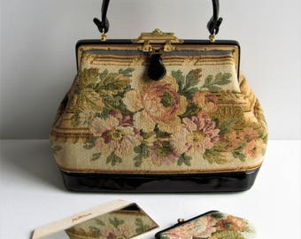 NETTIE ROSENSTEIN Gorgeous 1950's Tapestry & Black Bombe Leather Handbag In EUC