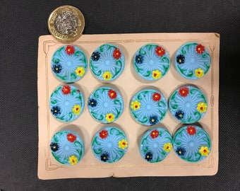 12 antique glass painted buttons.1900, blue / multi. For collection ,clothing , sewing ,costume , mixed media, art work, jewellery , craft