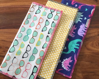 Burp cloths cool dino - set of 3 - cotton with flannel backing