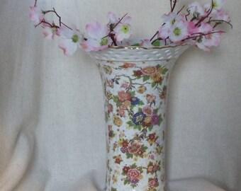 "Exquisite Vintage Formalities Baum Bros Vase, Japanese Chintz Pattern 9.75"",NEW LISTING!!!,#VB7263"