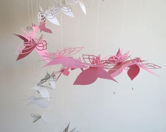 Butterfly Mobile - Home Decor, Hanging Mobile ,Butterflies , Pink and Gray Mobile, Nursery Mobile, Baby Mobile, Pink and White Mobile, Gifts
