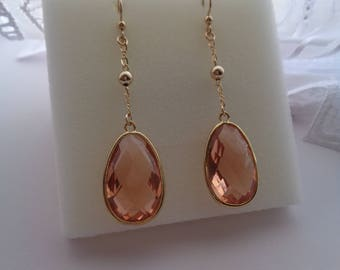 Long gold earrings, 585 gold filled, with crystal glass in apricot, magnificent!