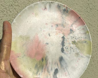 One of a Kind Marbled Round Concrete Serving Platter Plate