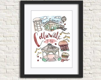 Collierville, Tennessee Handlettered Watercolor Wall Art Illustration Print Gift // 8x10 and 11x14