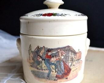 25% SALE Antique French Creamware Lidded Foie Gras Pot Ceramic Terrine Obernai Faienceries Digoin Sarreguemines