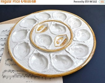 25% SALE Large Oyster Serving Platter/Dish/ Scallop Shell Plate From LONGCHAMP Vintage French Majolica Basket Weave