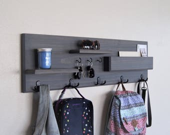 Entryway Organizer Coat Rack Wall Mounted With Mail Storage Coat Hooks And  Key Hooks Back To
