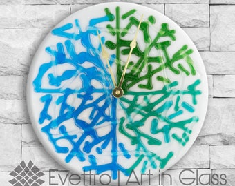 """Nautical Fused Glass, """"Clear Coral Clock""""."""