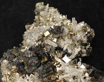 THREE Minerals PERFECT Pyrite Cubes Quartz Crystals on Sphalerite Nice! 283gr