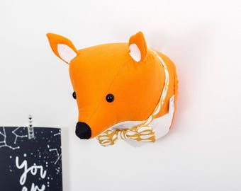 Woodland animals, fox head, fox decor, kids room decor, woodland nursery, faux taxidermy, nursery wall art