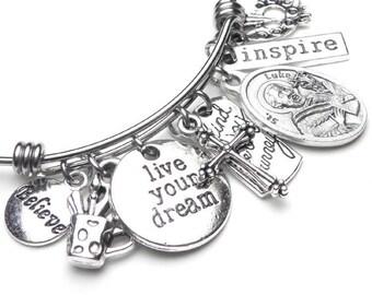 Artists Patron St. Luke Catholic Holy Medal Live Your Dream Charm Bangle Bracelet, Stainless Steel, Catholic Devotional Jewelry, Inspire