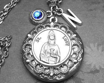 St. Lucy Locket Antique Silver Necklace with Custom Birthstone & Initial Letter, Catholic Gift, Patron Saint of Eye Disease, Vision Problems