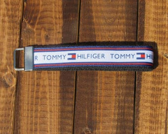 """Tommy Hilfiger Red, White and Blue Keychain Wristlet with Black Cotton Webbing   3"""" or 6""""   gifts under 10 bucks"""