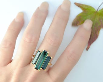 13.25 Ct. Baguette Cut 3 Stone Blue Green Tourmaline Ring with Diamond Accents on 18K Yellow Gold