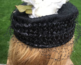Black Pillbox Hat Ladies Vintage Formal Hat with Netting and Silk Flowers