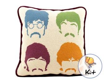 Beatles Needlepoint, Beginner Modern needlepoint kits, Pillow Kit or Printed Canvas,  Wool Tapestry kit, Modern tapestry kit, Music Lover