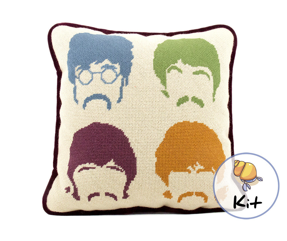 Modern Cross Stitch Pillow Kits : Beatles Needlepoint, Beginner Modern needlepoint kits, Pillow Kit or Printed Canvas, Wool ...