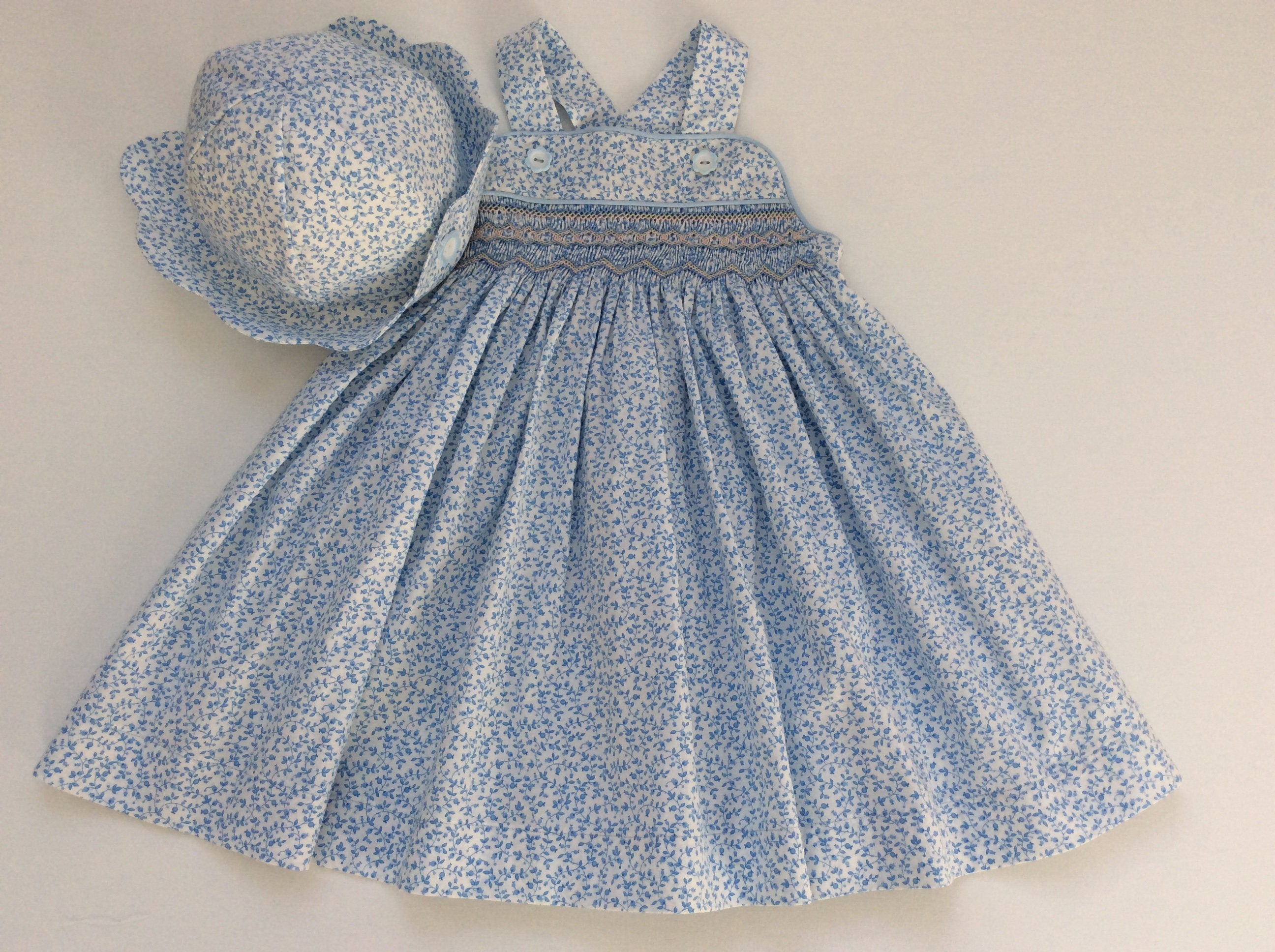 Girls smocked sundress toddler hat girls floral smocked dress