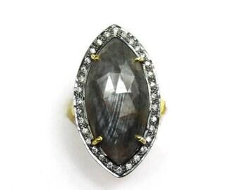 20% Off Glossy Gray Sapphire Rose Cut CZ Ring - 18k Gold Vermeil Gray Sapphire Ring - Sterling Silver Gray Sapphire Slice Ring