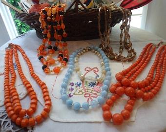 Vintage 1950's Beaded Necklaces Lot Japan Hong Kong Multi Strand Single Choker FUN!