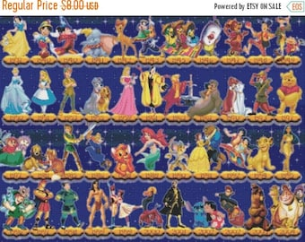 "Timeline disney story movie - counted Cross Stitch Pattern chart pdf format needlepoint  needlecraft - 31.50"" x 23.64"" - L868"