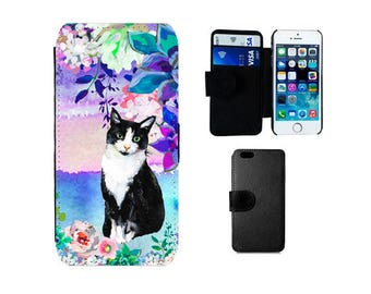Cat Wallet Case, Samsung Galaxy S8 Plus, S7 S6  Edge, S5 S4 Mini, iPhone 6, 6S, 7 8 Plus SE X 5S 5C 5 4S  phone cover black white cats. F326