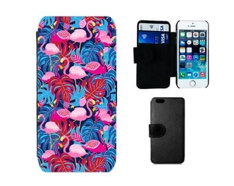 Wallet phone case iPhone SE, 5S, 5C, 5, 4S, X 8, 7, 6S, 6, Plus, Samsung Galaxy wallet S8 S7 S6 Edge Plus, S4 S5 Mini, Flamingo gifts. F342