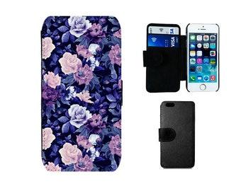 Wallet case iPhone 8 6 6S 7 Plus X SE 5S 5C 5 4S, Samsung Galaxy S8 Plus, S7 S6 Edge S5 S4 Mini Note 5 vintage floral flip phone cover. F146