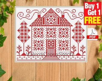 Sampler Cross Stitch Pattern, Home, House, cross stitch patterns, pdf, instant download,  #sp 240