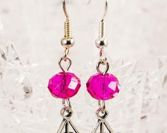 25% OFF Pink Crystal Charm Earrings - Silver Earrings - Harry Potter Earrings - Deathly Hallows Earrings - Pink Earrings