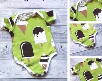 SALE - Baby Onesie - Ice Cream Onesie - Organic Baby Onesie - Baby Boy Onesie - Green Baby Onesie - Summer Baby Onesie - Beach Baby Clothes