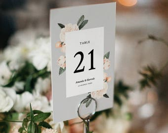 Vintage Floral Table Number Template, Printable Wedding Table Number, Garden Wedding Table | Edit in Word or Pages