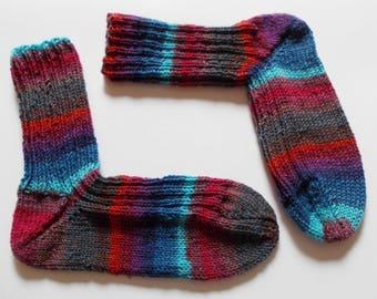 hand-knitted socks, Gr. 40/41 (EU), colorful stripes