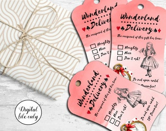 8 Digital Vintage Alice in Wonderland Tags,Toppers,Cards,Printable,Collage Sheet,Gift Tags,scrapbooking,crafts