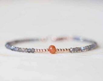 Labradorite Bracelet with Sunstone, Rose Gold Fill or Sterling Silver, Delicate Multi Gemstone Stacking Skinny Bracelet, Sunstone Jewelry