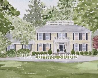Watercolor house portrait, Wedding gift for parents, Paper anniversary, House sketch, Watercolor portrait, Custom home