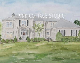 There's no place like home, Wedding gift for parents, Custom illustration, 50th anniversary gift, Wedding gift, Painting of my home