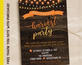 Fall harvest party invitation / Harvest party invitation / digital invitation