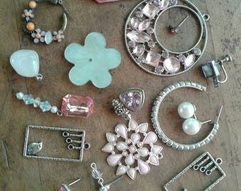 Pretty Pink Mixed Destash Junk Jewelry Craft Lot Mixed Jewelry Pieces Rhinestones