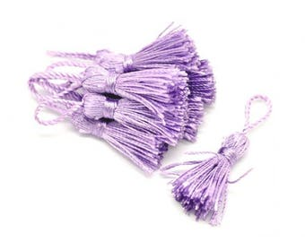 10 tassels of silk 4.5 / 5cm purple