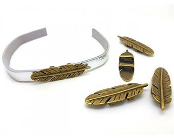 5 bronze feather for 10mm flat cord loops