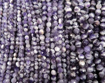 "Natural Chevron Amethyst 6mm, 8mm, 10mm Center Drilled Faceted Polished Finish Round Beads 16"" Strand"