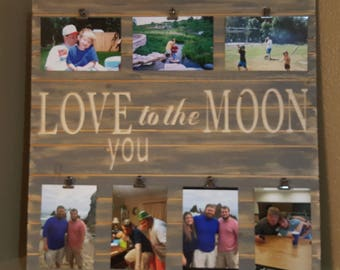 Wooded frame love you to the moon distressed