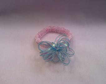 """1 Stretch/Elastic Mini Bow Headband for your own 6"""" 7"""" 8"""" Mini Silicone, Ooak, Polymer Clay Baby, Art Doll, Head Accessory,  FREE SHIPPING"""
