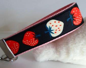"Key Fob /Key Chain Wristlet Strawberries 1.25x10"" Fabric Cute Gift Strawberry"