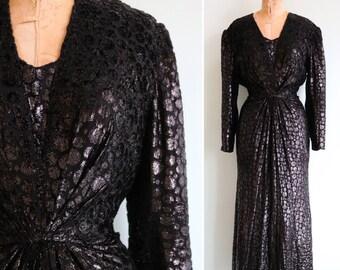 Vintage 1970's Black Tinsel Draped Gown | Size Medium/Large