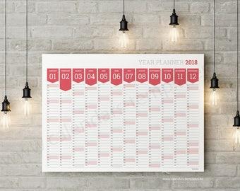 Year Planner. 2018 Year Wall Planner Agenda Calendar Template - KP-W12