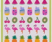Fruit Stickers - Flamingo Stickers - Juice Stickers - Mind Wave Stickers - Reference A6468-69